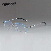 width-140 Frameless ultra-light titanium men gradient color diamond cutting male finished EMI Defending Coating len eyeglasses