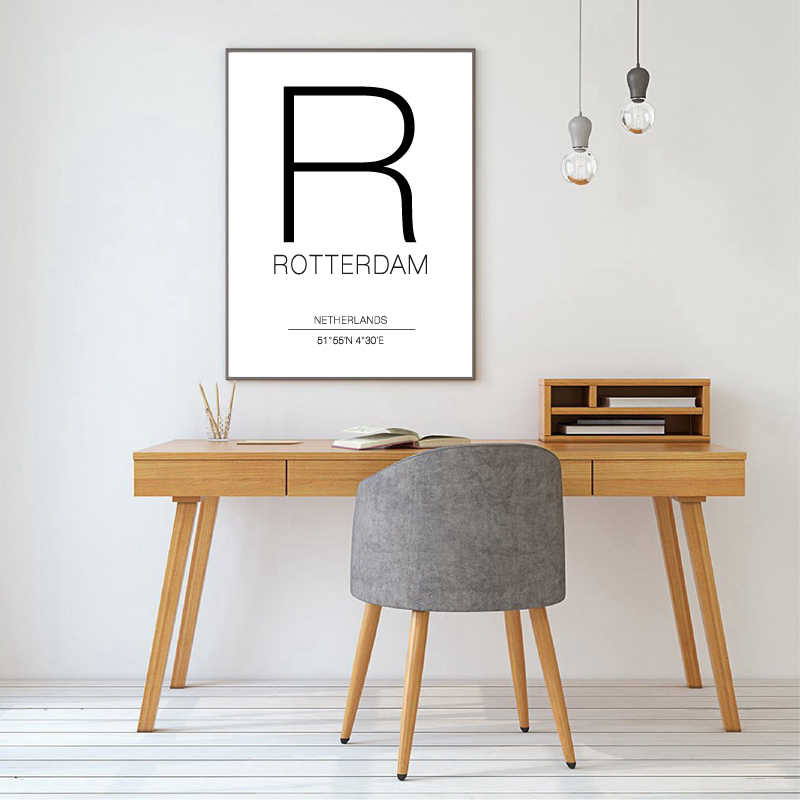 Rotterdam City Map Netherlands Black and White Prints Art Canvas Painting Posters Wall Art Pictures for Living Room Home Decor
