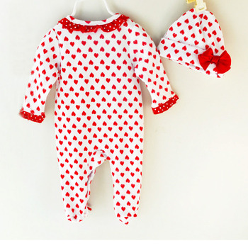 Humor Bear Christma Love Baby Girl Clothes Bow Romper Clothing Set Jumpsuit Hat 2PC Cute Infant Girls Rompers Baby suit 1