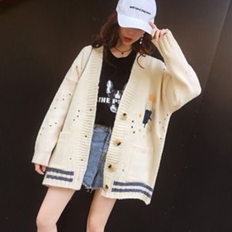 2019 Autumn Winter Loose Knitwear New Embroidered Knit Cardigan Women's Sweater Long Sleeve Short Jacket Coat Female Aa919