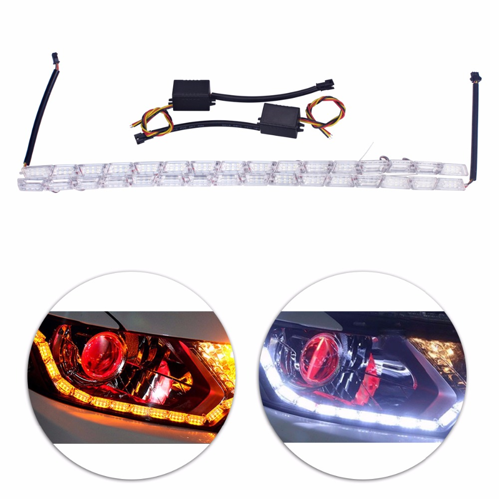 2xCar Styling LED Flexible Switchback Knight Rider Strip Daytime Running Light for Headlight Sequential Flasher DRL Turn Signal