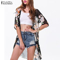 Summer Style 2016 Women Blusas Casual Loose Chiffon Blouse Shirts Bohemian Floral Printed Long Kimono Cardigan Outwear Plus Size