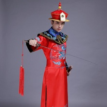 China Qing Dynasty men clothing sequins SuZhou embroidered emperor Dragon Gown Robe ancient Manchu prince stage costume