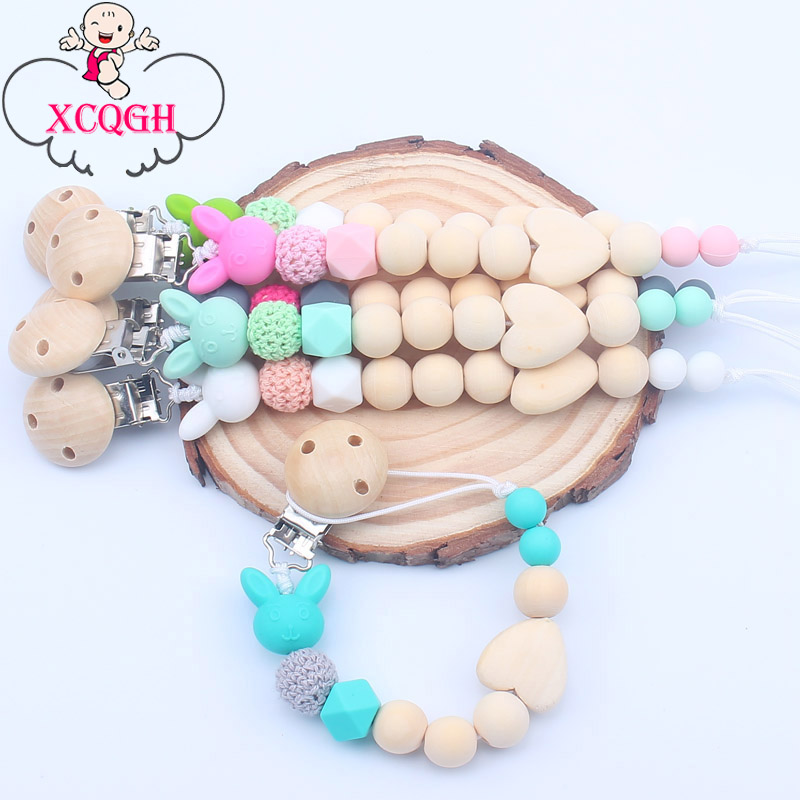XCQGH Wooden Nipple Holder Clip Chain Wood Beads Love Heart Baby Girl Boy Teether Soother Pacifier Clips Leash Strap