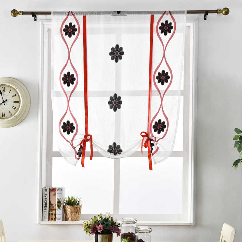Rod home Voile cafe textile curtains window ready roman treatments made door blinds black short red curtain