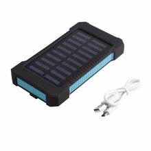 15000mAh Waterproof Durable Portable Solar Powered Charger Dual USB Battery Power Bank for Outdoor Emergency