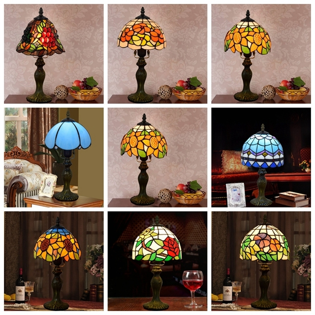 Mediterranean Decor Turkish Mosaic Lamps E27 Stained Glass Lampshade Bedroom Bedside Vintage Table Lamp Light Fixtures