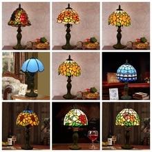Śródziemnomorski wystrój turecki mozaiki lampy E27 witraż klosz szklany sypialnia nocna lampa stołowa vintage oprawy oświetleniowe