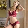 2017 Бренд ABCD женская бюстгальтер набор кружева белье женщин сексуальное push up bralette вышивка кружева интимные и трусы набор