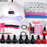 MeetNail Nail art set UV LED LAMP Dryer 6 Color 8ml gel Nail Polish set kit Nail Tools gel Varnish Lacquer Manicure Tools kit