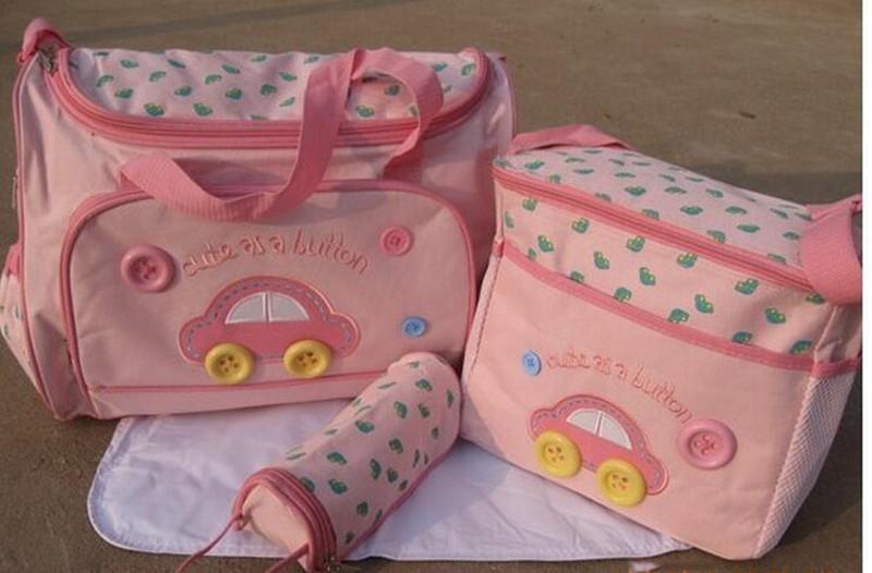 402914cm 4PCS Car Print Mother Bag Baby Diaper Bags Sets Multifunctional Baby Nursing Nappy Bag For Mom Organizer Portable (1)