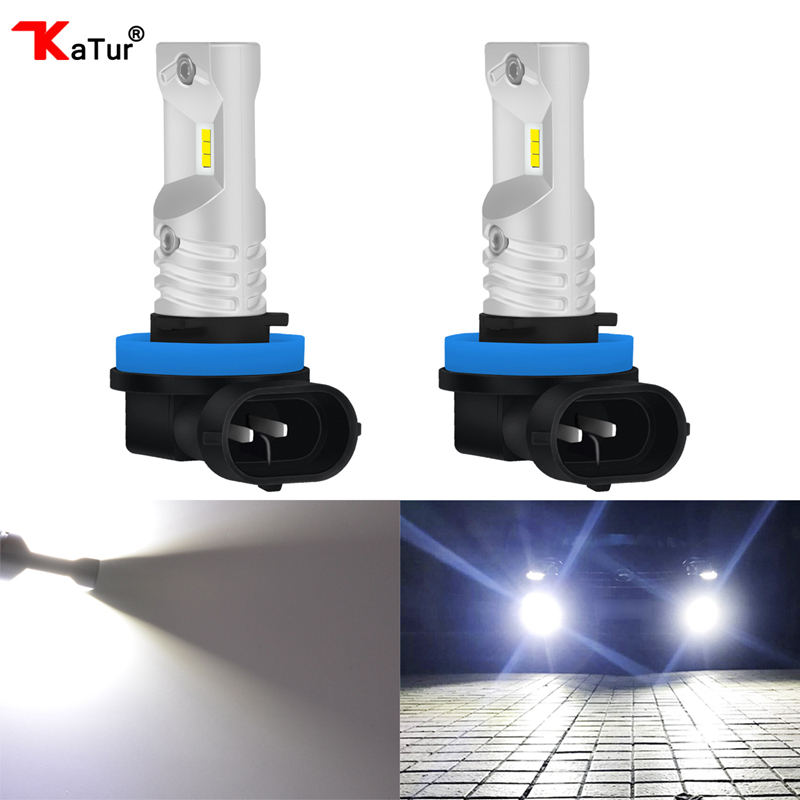Katur 2x H8 H11 H16 Car LED Fog Light Car Driving Driving Replacement Waterproof 1000LM 80W CSP Led Fog Bulb Light Lamp SET