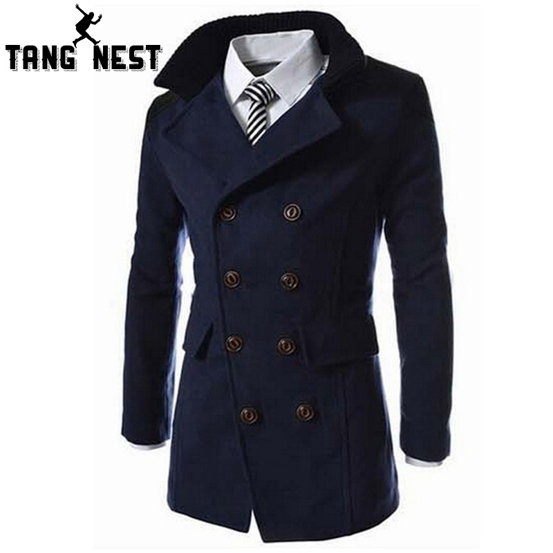 TANGEST Fashion Male Autumn Winter Coat Turn-down Collar Wool Blend Men Overcoat MWN113