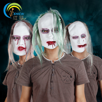 1 pz/Trasporto libero parrucca verde in lattice di orrore maschera di orrore skull maschera di Halloween dance party dress up props simulazione Ingannevole giocattoli
