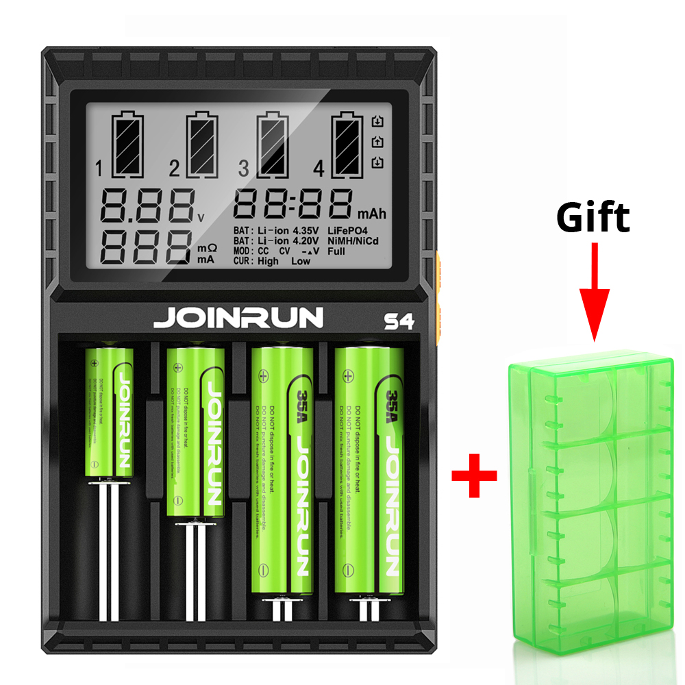 Joinrun S4 batterie ladegerät Lcd-bildschirm Intelligente li-ion 18650 14500 16340 26650 AAA AA DC 12 v Smart Batterie Ladegerät