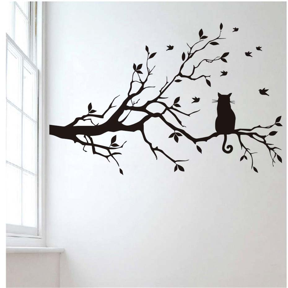 Image 3 - Little Cat on the Tree with Birds Sticker Wall Art Large Home Decorative Decal for Living Room kids Bedroom Mural Wallpaper-in Wall Stickers from Home & Garden