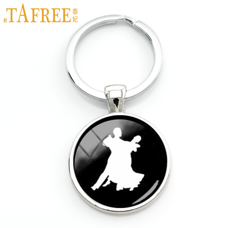 TAFREE Charming Men Women Dance Key Chain Ring Romantic Lovers Ballroom Dancing Keychain Elegant Jewelry Gift For Dancers KC586