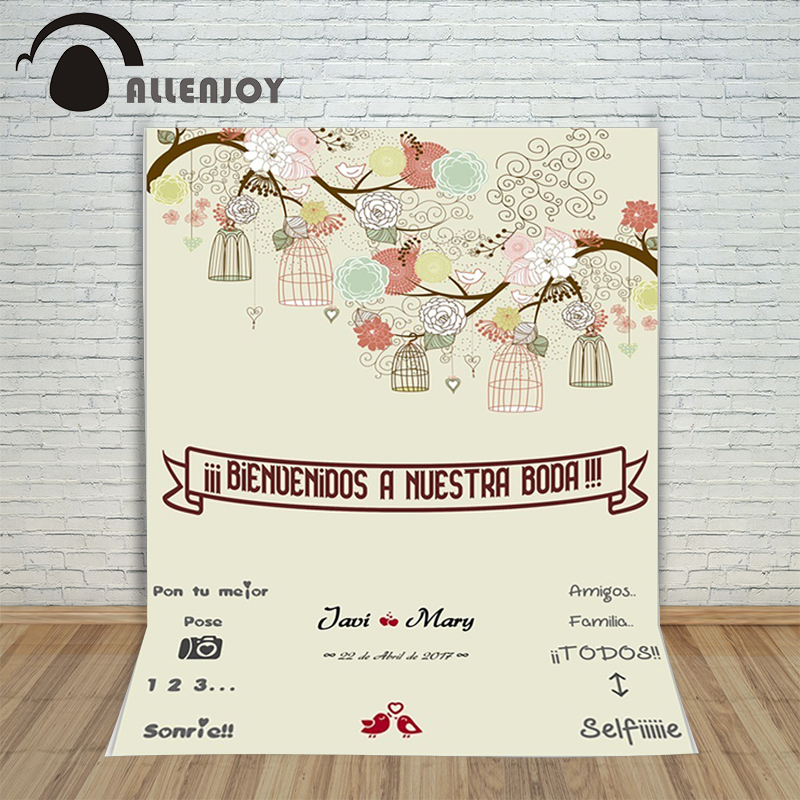 Allenjoy DIY photocall wedding Background Custom wedding background bird photography romantic backdrops allenjoy easter basket butterfly photography backdrops spring photography background photo studio background