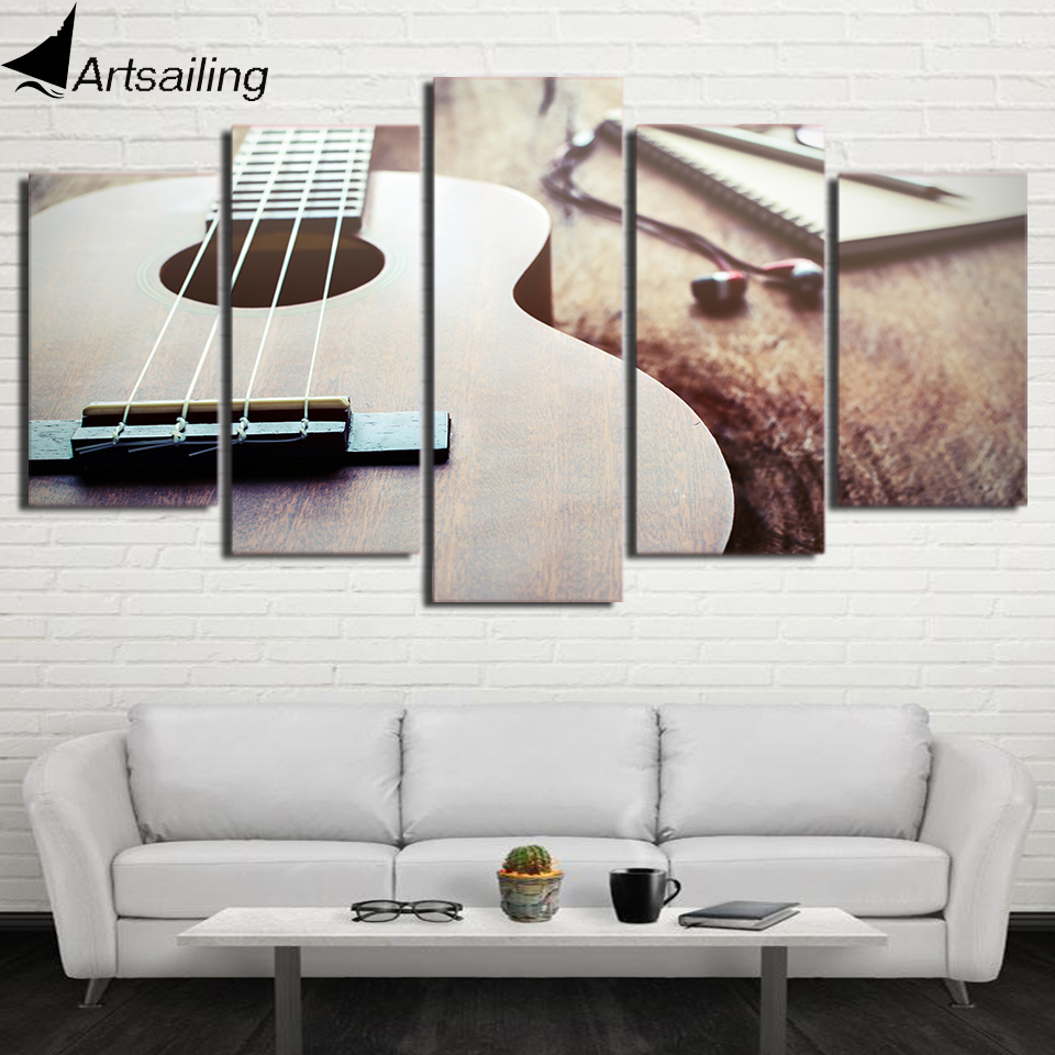 HD Printed 5 Piece Canvas Art Classical Guitar Painting Framed Large ...