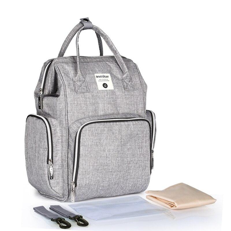 Soboba nueva mochila de pañales para madre impermeable sólido de gran capacidad Multi funcional bolsa de cambio para el cuidado del bebé gris - 4