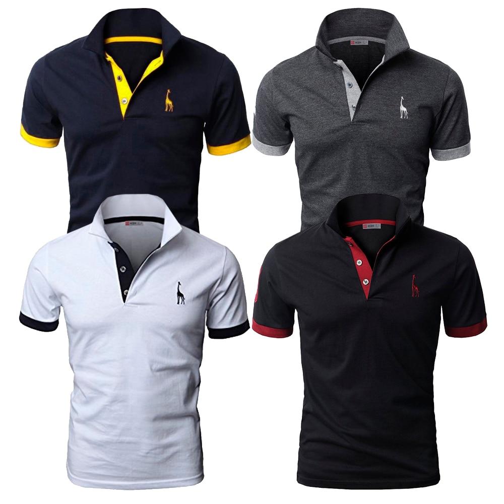 Set 4pcs/lot   Polo   Shirts Giraffe Famous Brand 2018 Male Usegiraffe Cotton Original Short Sleeve Casual Slim