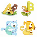 26Pcs/Set Baby Kids DIY Handmade Assembling Children's 3D Jigsaw Paper Cartoon Animals Puzzle 26 Letters Educational Toys Gifts