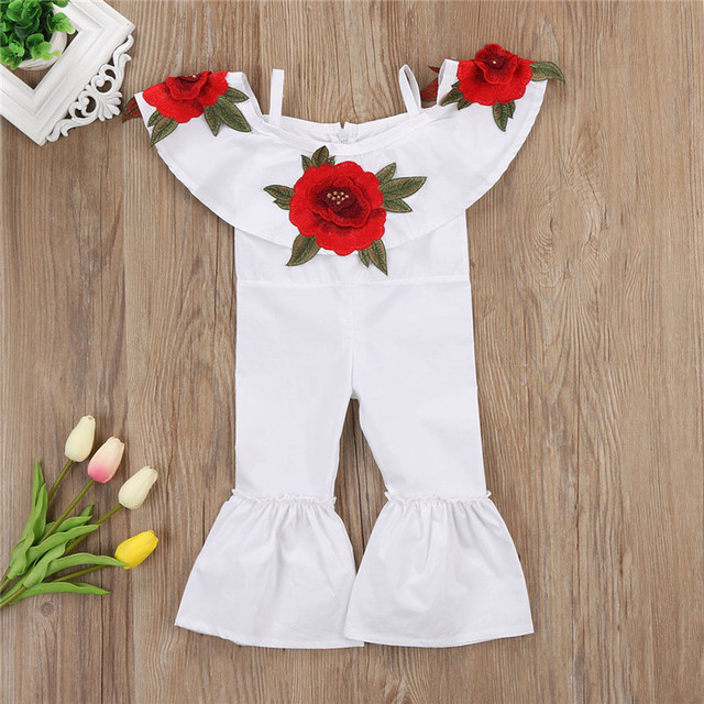 bdaa5b69a1c9 Kids Baby Girl 3D Floral Off Shoulder Romper Jumpsuits Boot Cut Trouser Girl  Clothes Ruffle Flared Overalls Jumpsuit Outfit 1-6T