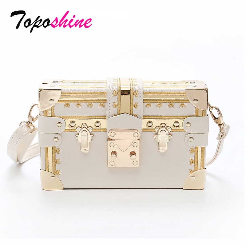 Toposhine Bags for Women 2018 Personality Rivet Women Shoulder Box Bag Vintage Mini Bag Female Shoulder Bag Summer Girl Handbag
