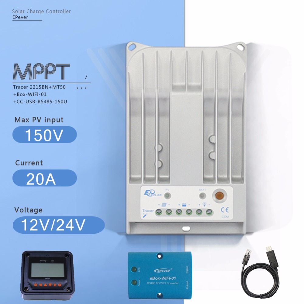 Tracer 2215BN 20A MPPT Solar Charge Controller 12V/24V Auto Solar Battery  Regulator with MT50 Meter EBOX-WIFI and USB Cable tracer 4215b 40a mppt solar panel battery charge controller 12v 24v auto work solar charge regulator with mppt remote meter mt50