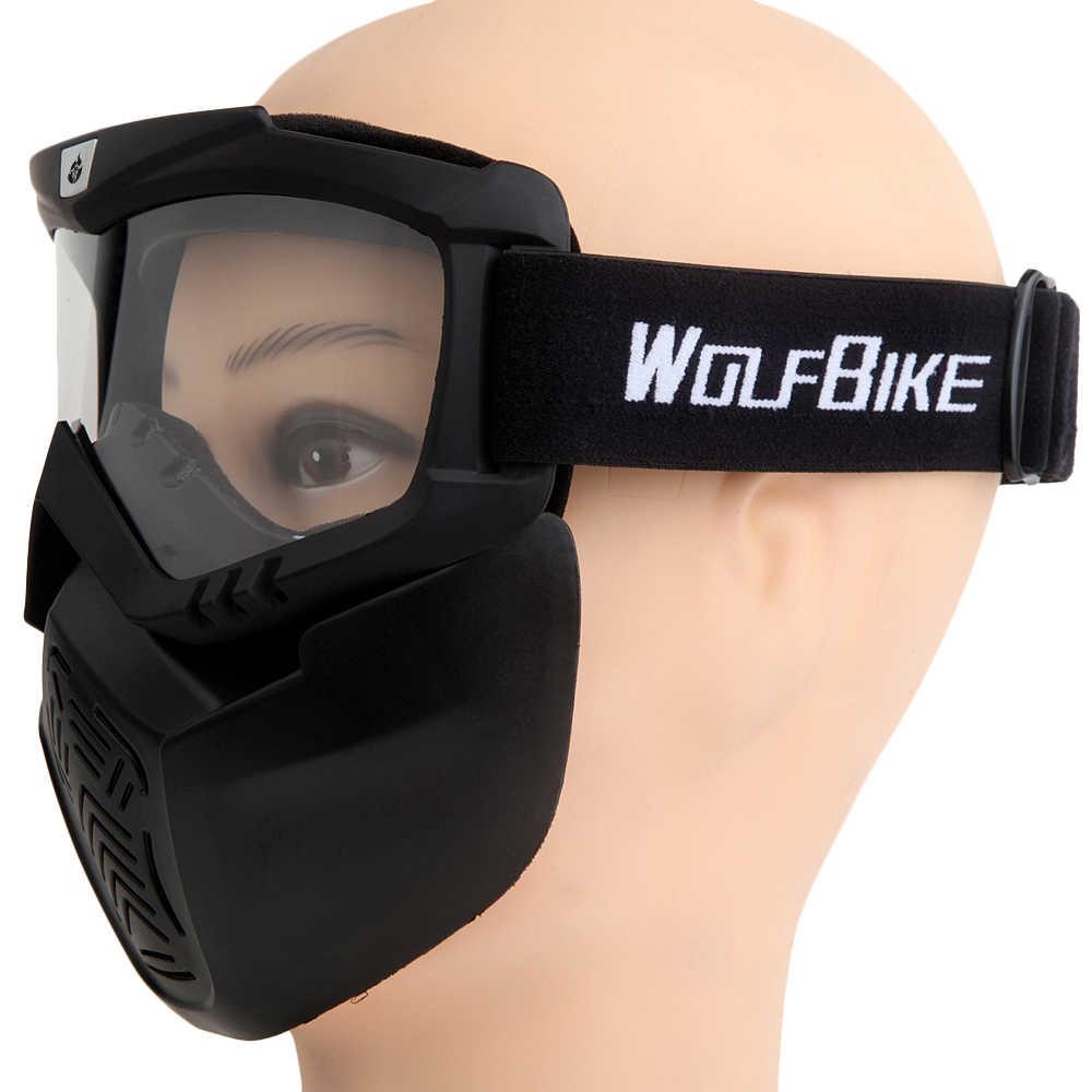 Wolfbike Ski Snowboard Sepeda Motor Berkuda Kacamata Pria Wanita Motorcross Off Road Kacamata dengan Masker Wajah untuk Membuka Setengah Wajah helm