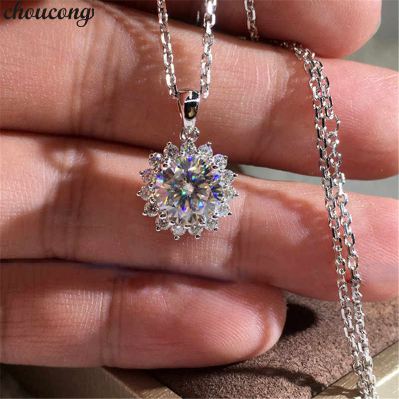 choucong sunflower Pendant AAAAA cz Stone Real 925 Sterling silver Wedding Pendant Necklace for women Bridal Birthday jewelry