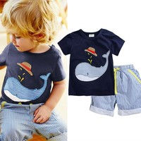 EMS DHL Free Shipping Wholesale NEW Boys 2pc Sumer Set T Shirt Pants Hippos Suit Baby