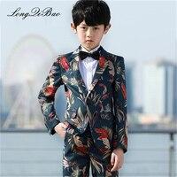 5 piece Handsome Printed Costume Enfant Garcon Mariage Children Suit Kids Blazers Boys Suits For Weddings Vestidos De Noiva