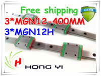 3PCS 12mm Linear Guide MGN12 L= 400mm linear rail way + MGN12H Long linear carriage for CNC X Y Z Axis