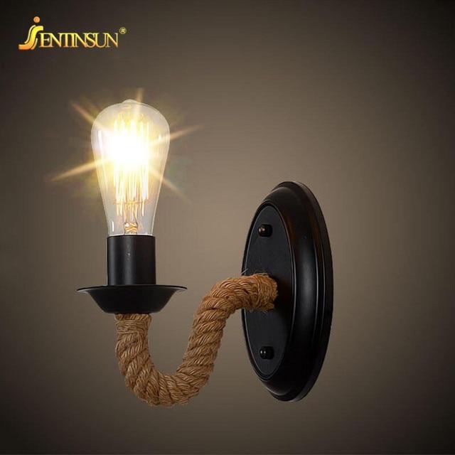 industrial led indoor lighting. american style retro hemp rope wall light loft industrial led mounted sconce indoor lighting lamp aisle led