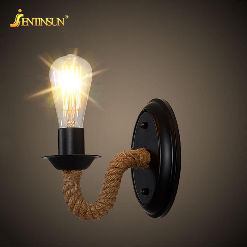 Retro Industrial Lamp Vintage Hemp Rope LED Wall Light Loft Mounted Sconce Indoor Lighting Stairs Living Room Lamp luminaria