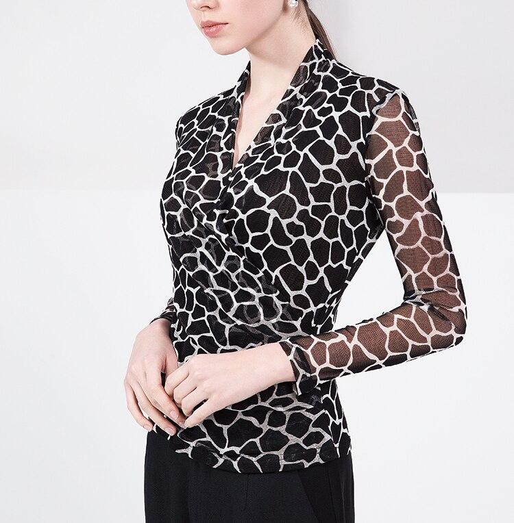 شبكة الحرير طويل كم القميص ، v طوق مجموعة ، الحرير الخالص قميص ، الإناث الخريف معطف-في بلوزات وقمصان من ملابس نسائية على  مجموعة 1