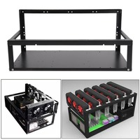(Ship From UK)High Performance 6 GPU Mining Rig Steel Stackable Case Support Up To 6 GPU Open Air Frame Rack Bracket Black