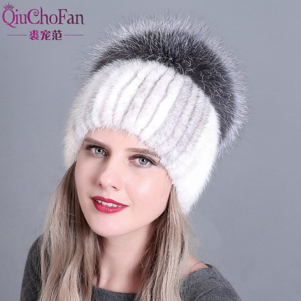 Thicken Knitting Hat Solid lined Elastic Russian Beanie With Luxury Fox Fur Pompon Cap Women Winter Real Mink Fur Beanie Hats russian hot sale children knitted rabbit fur hats girl winter warm beanie hat real fur solid hat scarf cap free shipping qmh65