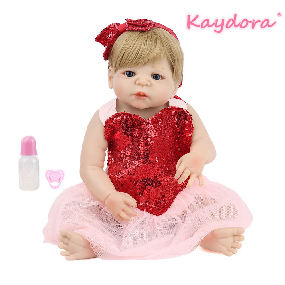 22 inch 55cm Reborn Baby Doll Full Vinyl lol Toy  Lovely Princess Girl Beautiful Bebe pretty heartdress hot sale KAYDORA22 inch 55cm Reborn Baby Doll Full Vinyl lol Toy  Lovely Princess Girl Beautiful Bebe pretty heartdress hot sale KAYDORA