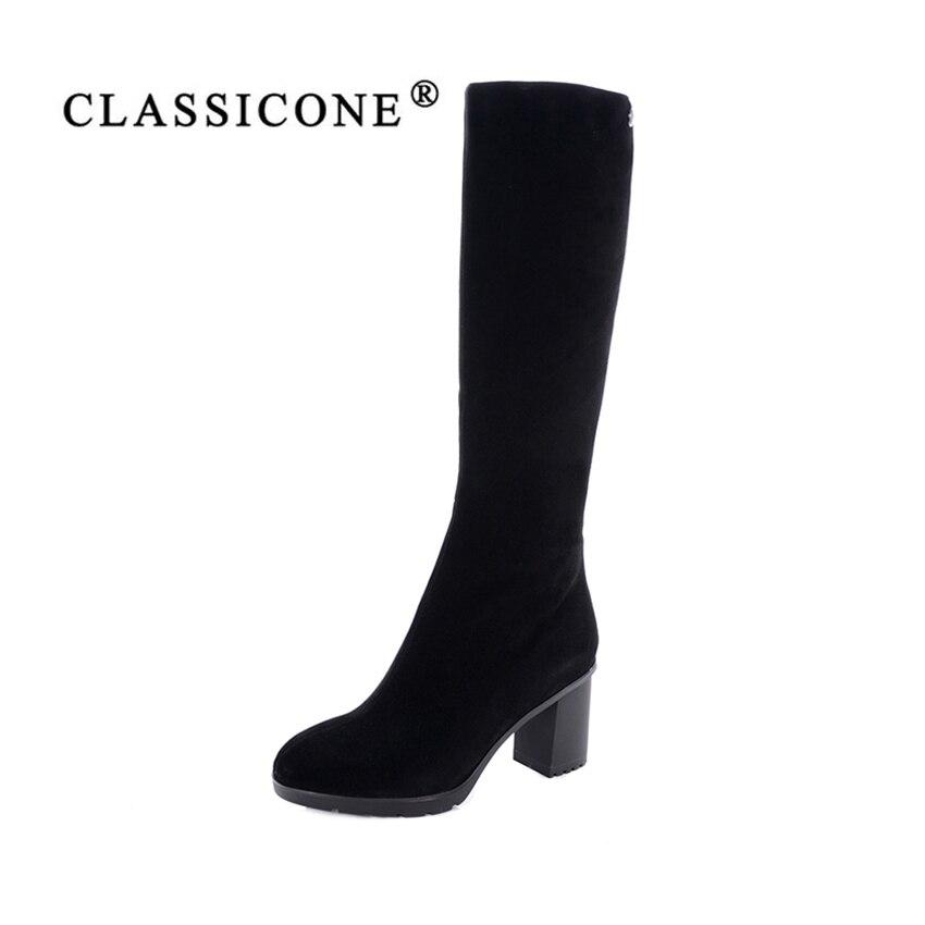 LASSIOCNE 2017 delle donne di inverno ginocchio-Alti stivali scarpe in vera pelle naturale di pelliccia tacco Alto nero scarpe da donna di marca di stile di modo