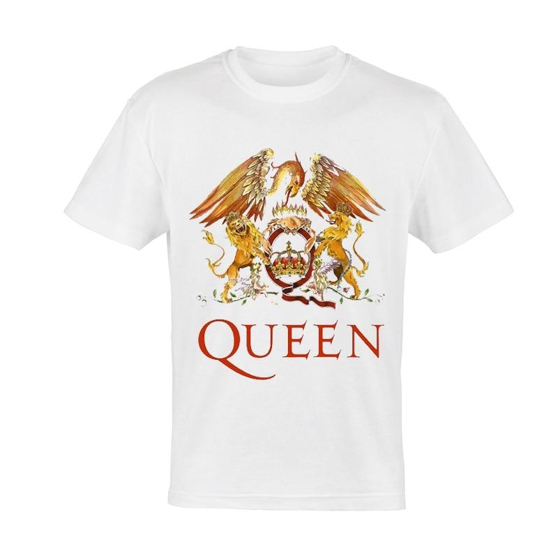 Queen T Shirt White Color Mens Fashion Band Queen Logo Freddie T-shirt Tops Tees Unisex Freddie Queen Tshirt