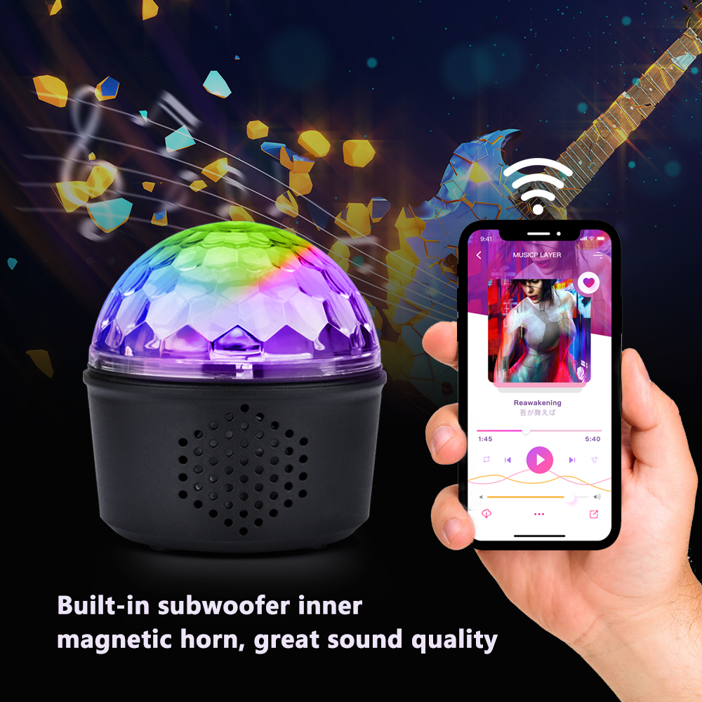 Bluetooth MP3 Speaker Party Lights 15W USB 9 Color Crystal Disco Ball Magic Effect Lamp Stage Light For KTV Birthday BarBluetooth MP3 Speaker Party Lights 15W USB 9 Color Crystal Disco Ball Magic Effect Lamp Stage Light For KTV Birthday Bar