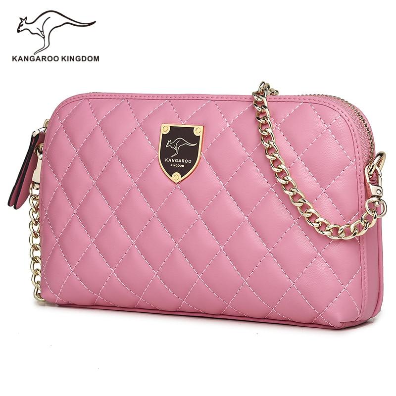 Kangaroo Kingdom Fashion Pu Leather Women Bag Plaid Small Women Messenger Bags