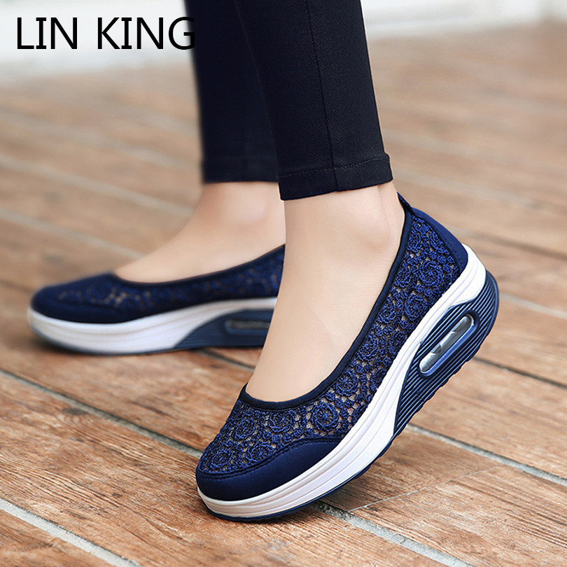 LIN KING Big Size Women Vulcanized Shoes Breathable Hollow Out Summer Outdoor Casual Siwng Shoes Fashoin Lace Slip On Loafers