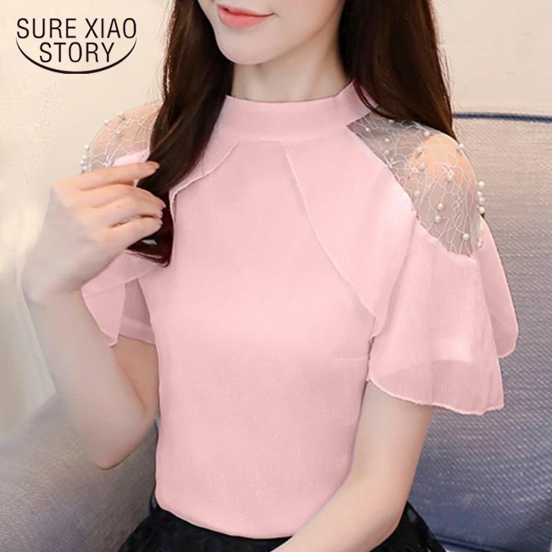 4525dda7e3a Модные женские блузки 2019 с коротким рукавом рубашки женские летние женские  топы сладкий бисером белая шифоновая