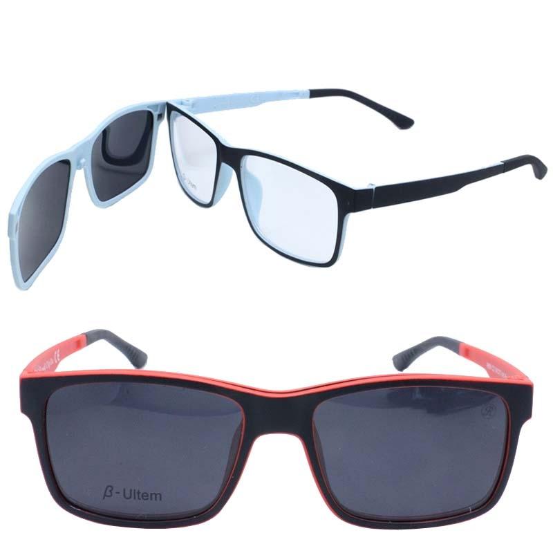 Retailsales P001 TR90 megnatic facilmente clipe em removível aro completo  óculos de sol lentes polarizadas quadrado eebbe7aca6