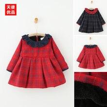 Девушки с кашемир платье 2016 зима новый дети дети ребенок платье принцессы Лацкане Плед утолщение