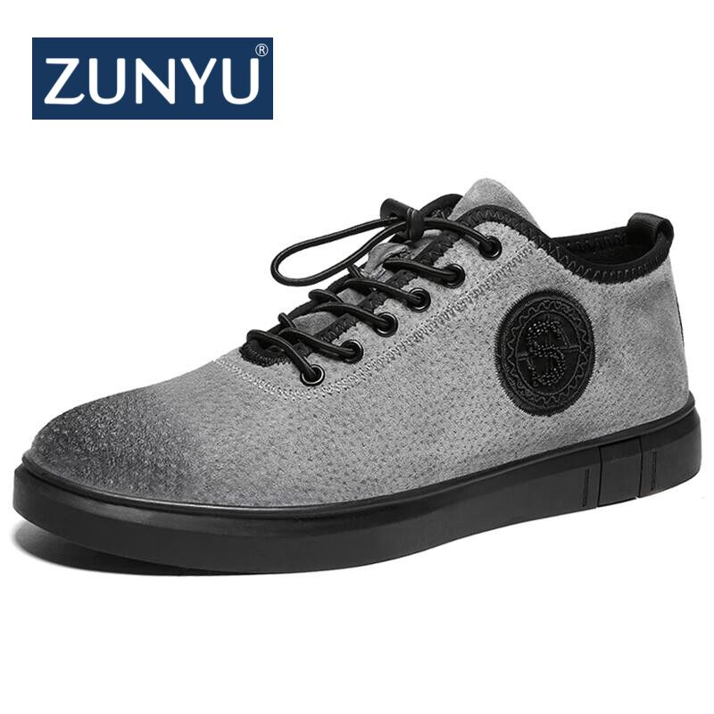 ZUNYU Classics Style Men Casual Shoes Fashion Breathable Male Shoes Spring New Genuine Leather Men Flats Shoes Designer Sneakers relikey brand men casual handmade shoes cow suede male oxfords spring high quality genuine leather flats classics dress shoes