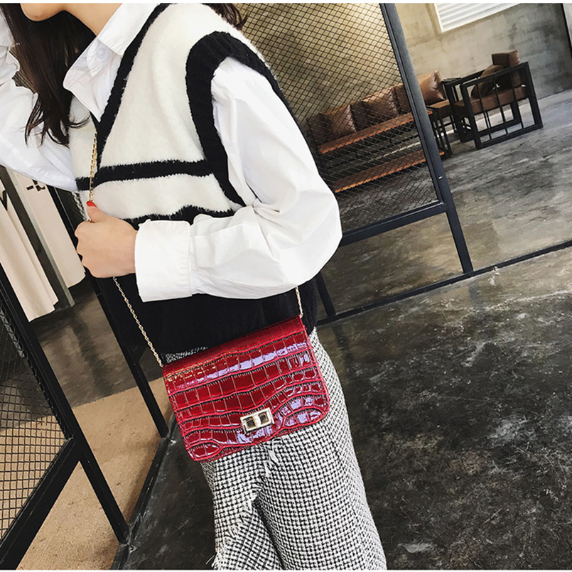 IVOTKOVA Fashion Women Messenger Bag Chain Clutch Purse Crocodile Female Cross Body Bags Vintage Girl Handbags Bolsa Feminina